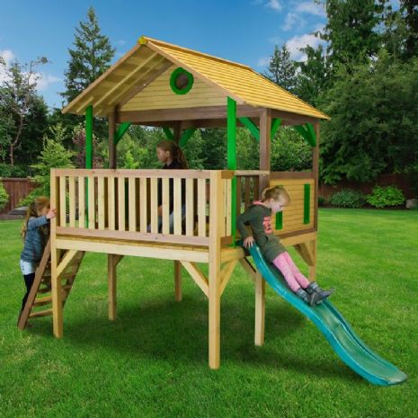 Jungle Lookout Playhouse With Jumbo Wavy Slide